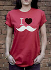 I LOVE MOUSTACHE TSHIRT FACIAL HAIR BEARD HIPSTER HEART T-SHIRT C0097
