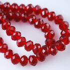 Faceted Glass Crystal Rondelle Loose Finding Spacer Beads Dark Red Size 3~12mm