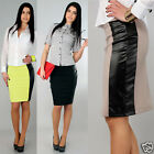 ☼ Women's Classic Pencil Skirt with Eco Leather ☼ Elegant Strip Sizes 8-16 FA135
