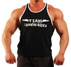 BLACK USA STYLE DEEP CUT  T-BACK BODYBUILDING VEST WORKOUT CLOTHING
