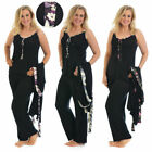 New Womens Plus Size Ladies Cami Pyjama Flower Floral Satin Trim PJ Set Nouvelle