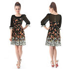Lovely Black Print Short Chiffon 3/4 Sleeve Winter Cocktail Casual Dresses 02388