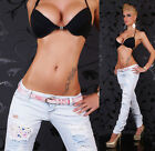 Sexy Shred Skinny Jeans Destroyed Ripped Jeans Lace inc Belt Size 6-14