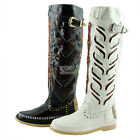 Fashion Comfort Mid Calf Knee High Flat Heel Western Cowboy Riding Boots Shoes