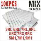 15,30,50,100 pcs New Disposable Sterile Tattoo Needles U-Pick RL,RS,F,M1,M2,RM