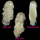Ladies 3/4 WIG Half Fall Clip In Hair Piece Lightest Blonde #60 Sexy Style