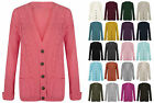 WOMENS LADIES CABLE KNIT KNITTED GRANDAD STYLE LONG SLEEVE CARDIGAN TOP SM-ML