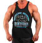 BLACK TEAM IRONWORKS T-BACK BODYBUILDING VEST WORKOUT GYM CLOTHING H-75