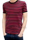 MENS stripey tee t-shirt burgundy red black indie mod NEW preppy punk striped