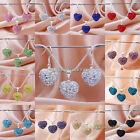 Shamballa CZ Crystal Heart Beads Pendant Chain Necklace&Earrings Jewelry Sets