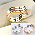A1-R289  Fashion 4.5mm Width Triple Wave Band Ring Set 18KGP