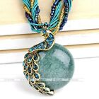 1pc Vintage Millet Chain Crystal Peacock Golden Wrap Pendant Necklace Jewelry