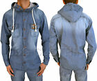 NEW MENS DESIGNER ZICO HOODED VINTAGE SHIRT JACKET TRENDY RETRO PUNK DENIM LOOK
