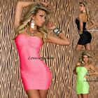 NEW WOMEN SEXY STRAPLESS MINI BODYCON NEON LONG TOP DRESS PARTY CLUBBING 8/10