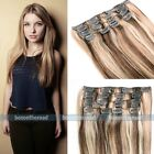 "15""-26"" Remy Straight 7pcs Clip in Real Human Hair Extensions Full Head"