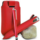 RED PULL TAB LEATHER POUCH CASE COVER W/ BIG STYLUS PEN FOR VARIOUS PHONES