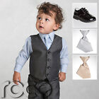 Boys Grey Suit, Page Boy Suits, Baby Boys Black Shoes, Boys Elasticated Tie