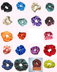 Hair Scrunchie,Handmade Satin & Fabric Colored Elasticated-Band Loop Tie-Choice