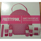 PRETTY PINK VANITY CASE BATH GIFT SET INC BODY WASH HAND BODY LOTION NAIL FILE
