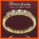9K GOLD FILLED R55 CREATED DIAMOND ETERNITY WEDDING WOMENS GIRLS SOLID BAND RING