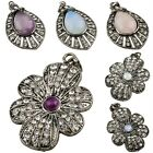1Pc Crystal Opal Amethyst Gemstone Tibetan Silver Flower Teardrop Pendant Charms