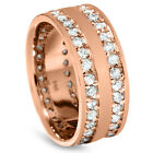 1.50CT Double Row Diamond Eternity Ring 14K Rose Gold