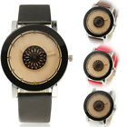 Beautiful Simple One Flower Dial Women's Quartz Wrist Watch Faux Leather Band