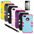 Pen+Plastic PC Silicone Protective Case Cover for iPhone 4 4S w/Screen Protector