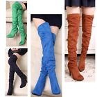 Women's suede high heel stiletto pumps shoes over the knee thigh high boots 5-9