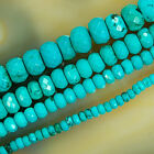 "Natural Turquoise Gemstone Faceted Rondelle Spacer Beads 16"" Pick 4,6,8,10mm"