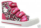 GIRLS HELLO KITTY PEONY PINK CASUAL LEOPARD VELCRO HI TOP TRAINERS SIZE 10-2 NEW