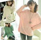 New Women's Batwing Sleeve Round Neck Knitted Pullover Casual Loose Sweater