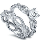 1.50CT Infinity Eternity Engagement Wedding Ring Band Set 14 Karat White Gold