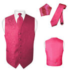 Men's Paisley Design Dress Vest & NeckTie HOT PINK FUCHSIA Color Neck Tie Set
