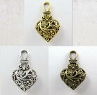 6Pc Tibet Silver,Gold,Bronze Two-Sided Hollow Heart Charms Jewel Pendants 31mm