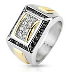 Stainless Steel 2 Tone 1.08 Carat Clear & Black Multi-Paved CZ Ring Size 9-13