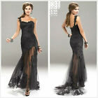 Stock Sexy Formal lace One shoulder Prom dress Ball gown Pageant Evening dress