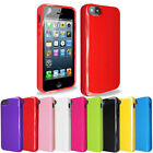 SILICONE SOLID GLOSSY GEL PHONE CASE COVER FOR APPLE iPhone 5 5G 5S+SCREEN GUARD