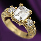 18K GOLD FILLED R78 ANTIQUE TRILOGY SIMULATED DIAMONDS CITRINE SOLID WOMENS RING