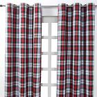 Red & White Tartan Check Heavyweight Cotton Eyelet Ring Top Pair Of Curtains