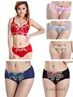 Breathable Cotton Sexy Peony Embroidery Panty Women Girls Underwear 6 Colors