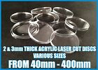 2 & 3mm CLEAR ACRYLIC / PERSPEX DISC POLISHED EDGES VARIOUS SIZES & Qty's