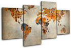 Grunge World Atlas Maps Flags MULTI CANVAS WALL ART Picture Print VA