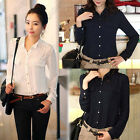 Women's Fashion Casual Stand-up Collar Long Sleeve Chiffon Top Shirt GWF-6111