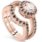1.50 Ct Morganite & Black Diamond Halo Engagement Wedding Ring Set 14K Rose Gold