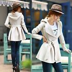 New Women's Hoodie Jacket Trench Coat Outerwear Unique Style Tops Apricot
