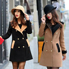 Women Trench Double-breasted Woolen Slim Lapel Coat Jacket Blazer Outwear 2Color