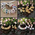 Mixed Wholesale Crystal Silver Gold Big Hole Charms Beads Fit Euro Bracelet