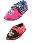 Girls SIZE 6 - 12 MINNIE MOUSE Pink Black Velcro Slippers NEW Winterbourne