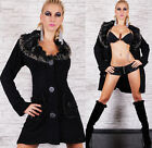 Sexy Women's Wool CARDIGAN SWEATER  Faux Fur Coat-Collar Jacket Size 8-14